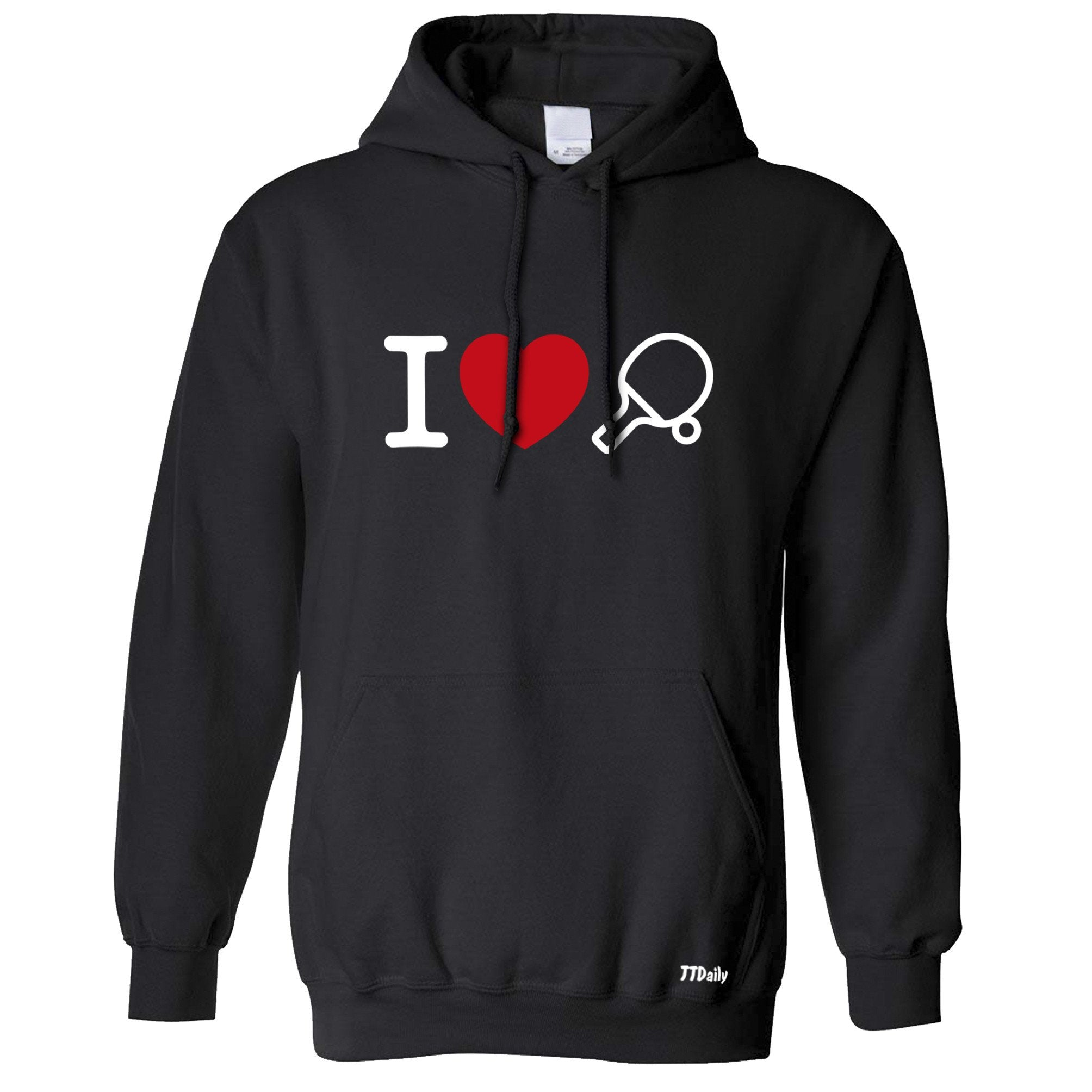 I Love Table Tennis Hoodie Ping Pong Player Heart Design Hooded Jumper