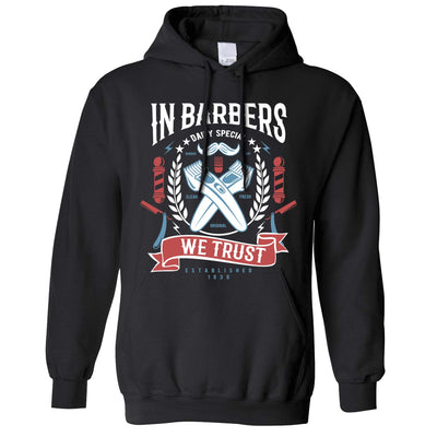 Novelty Hoodie In Barbers We Trust Logo Hooded Jumper