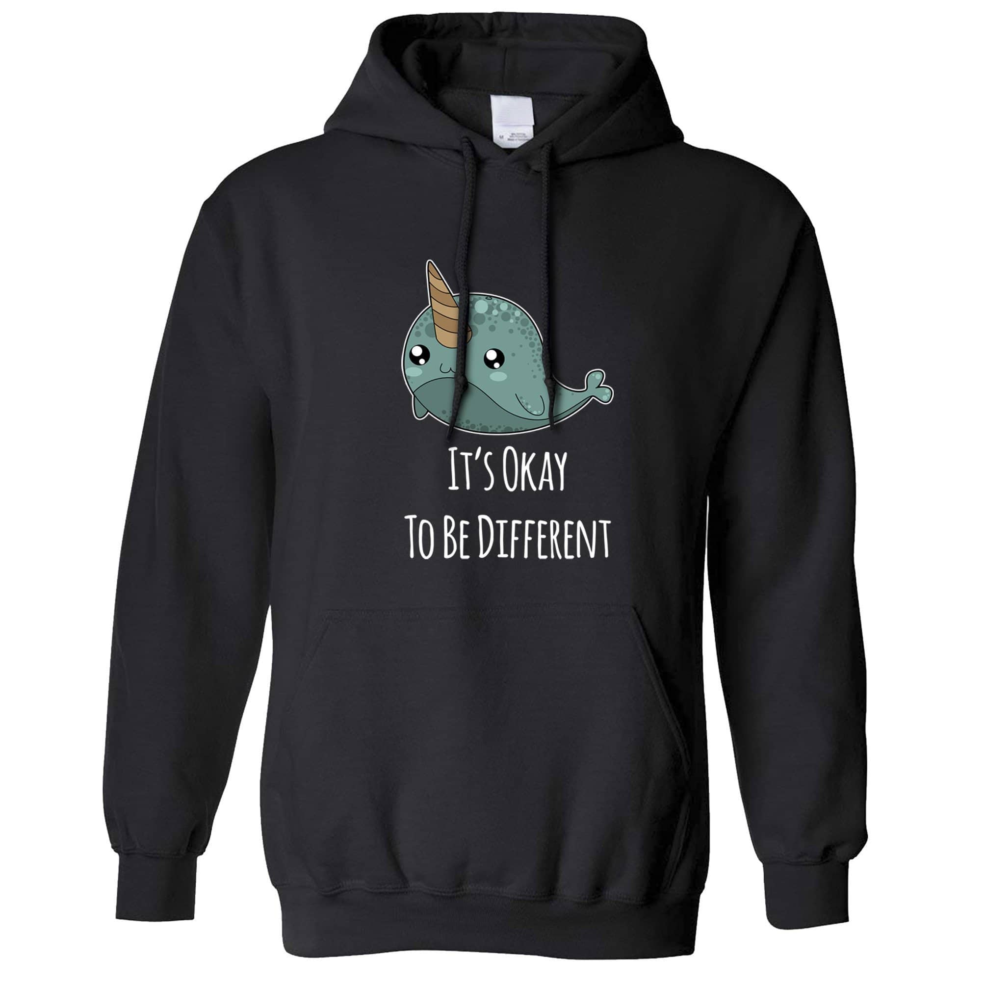 Cute Narwhal Hoodie It's Okay To Be Different Slogan Hooded Jumper