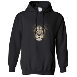 Stylish Animal Unisex Hoodie Photographic Lion Face Design