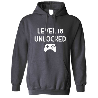 Gamers 18th Birthday Hoodie Level 18 Unlocked Slogan Hooded Jumper