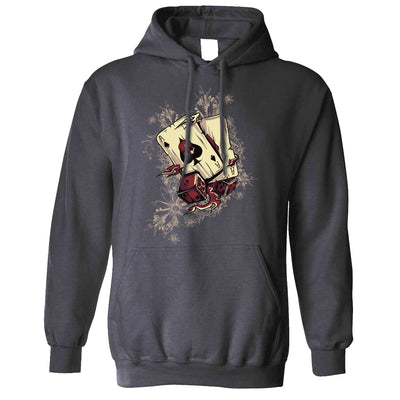 Gambling Art Hoodie Cards And Dice Graphic Hooded Jumper