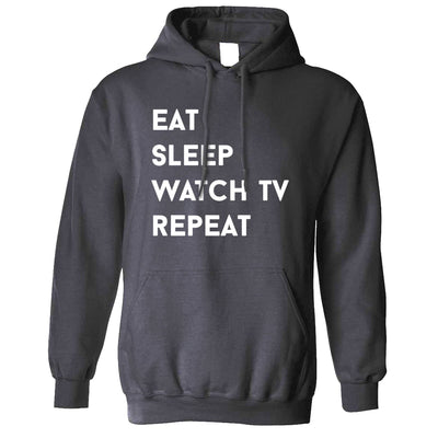 Lazy Hoodie Eat, Sleep, Watch TV, Repeat Slogan Hooded Jumper