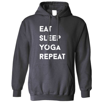 Gym Hoodie Eat, Sleep, Yoga, Repeat Slogan Hooded Jumper
