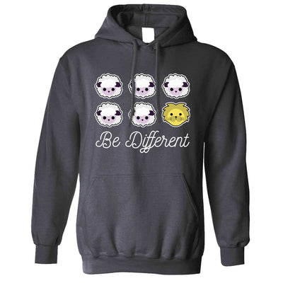 Novelty Hoodie Be Different Cartoon Sheep Slogan Hooded Jumper