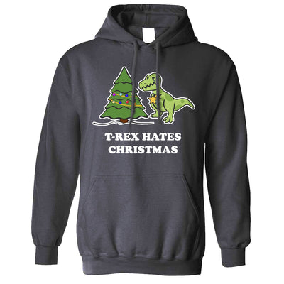 Novelty Xmas Hoodie T-Rex Hates Christmas Joke Hooded Jumper