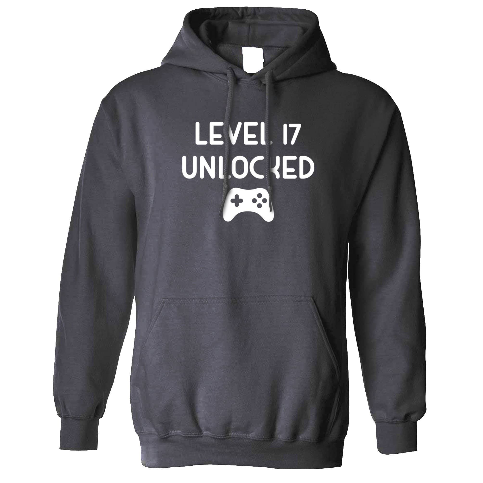 17th Birthday Gamer Hoodie Level 17 Unlocked Slogan Hooded Jumper