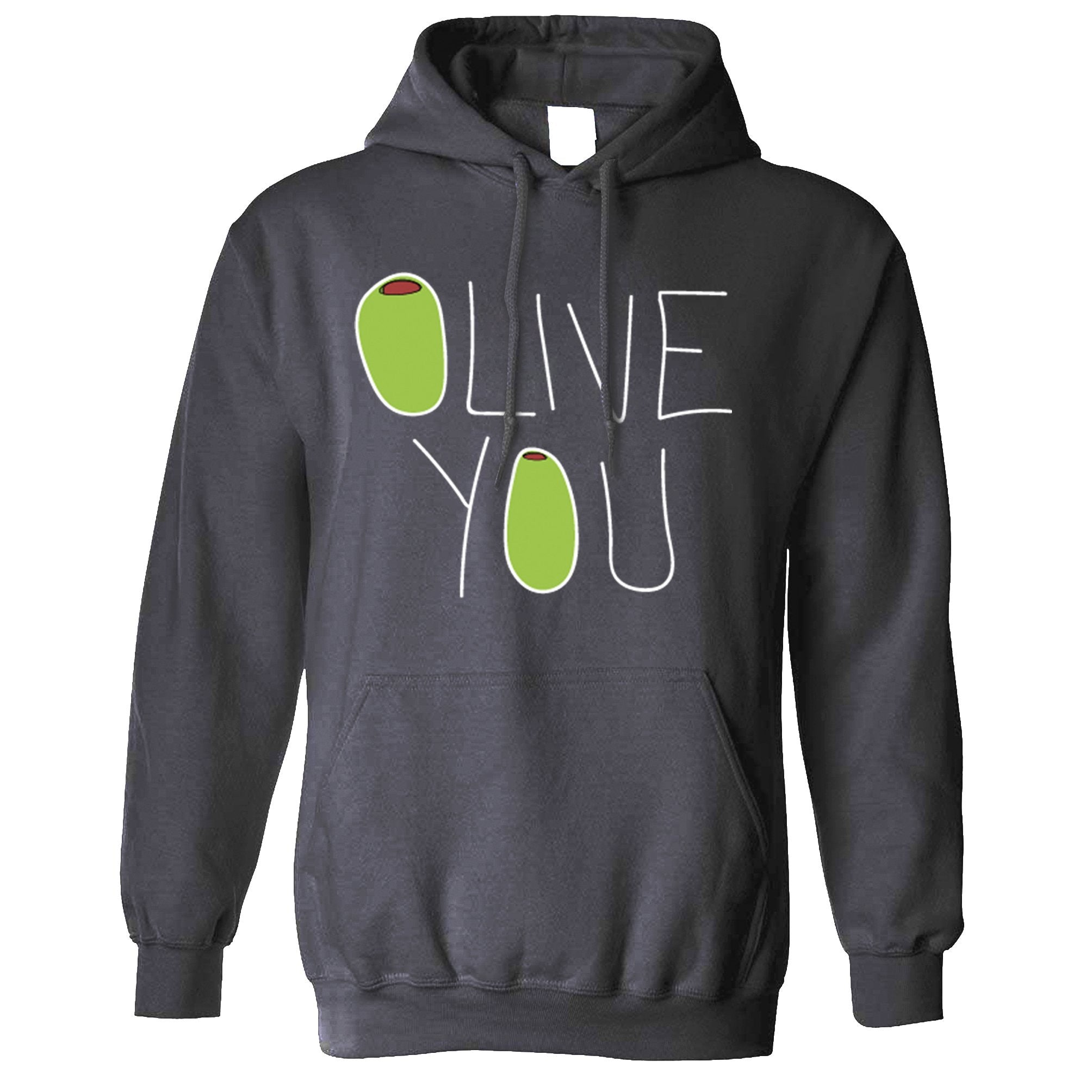 Valentines Day Hoodie Olive You Slogan Hooded Jumper