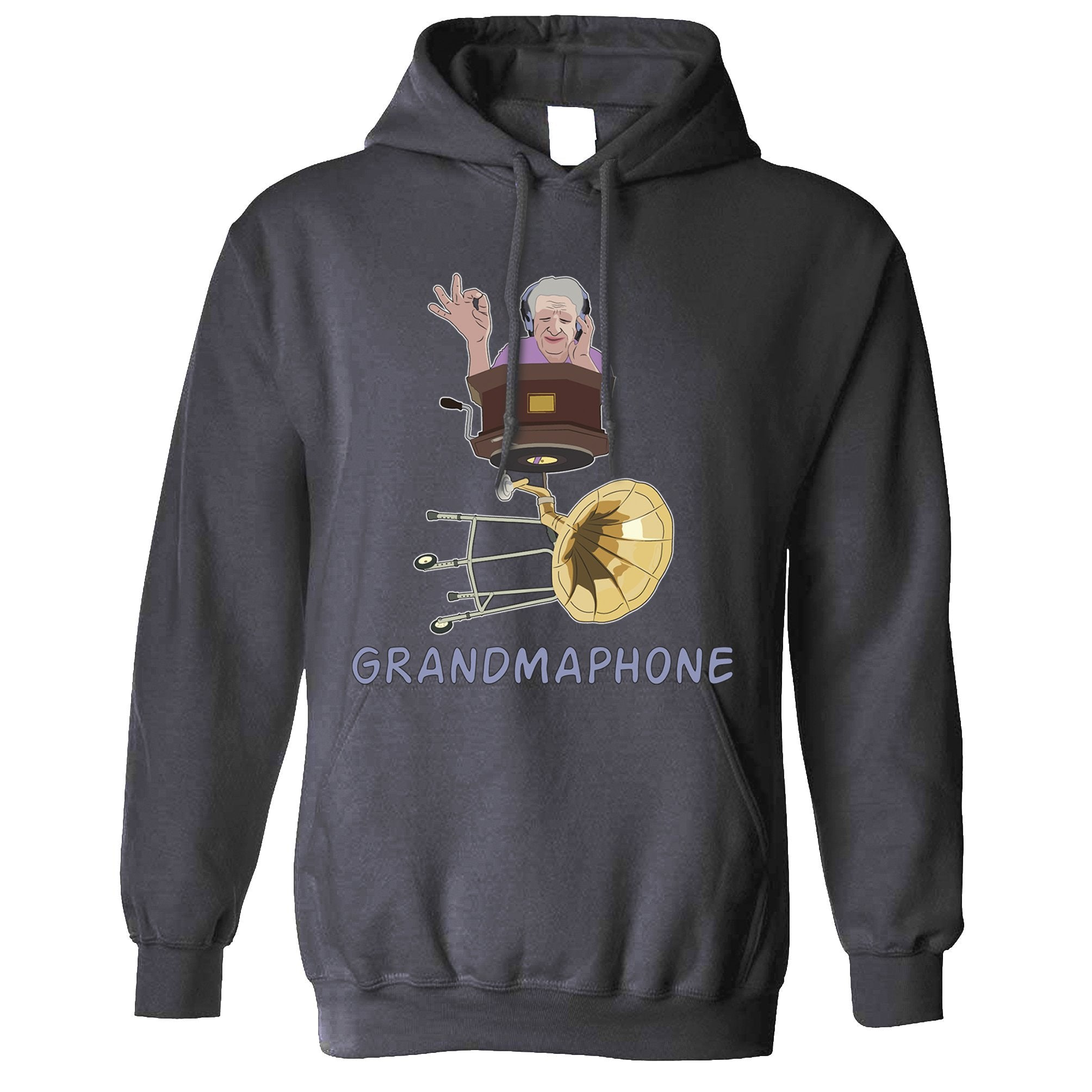 Novelty Music Hoodie Grandmaphone Illustration Hooded Jumper