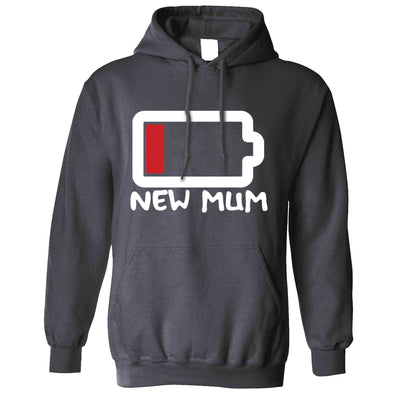 New Mum Hoodie Low Battery Remaining Novelty Joke Hooded Jumper