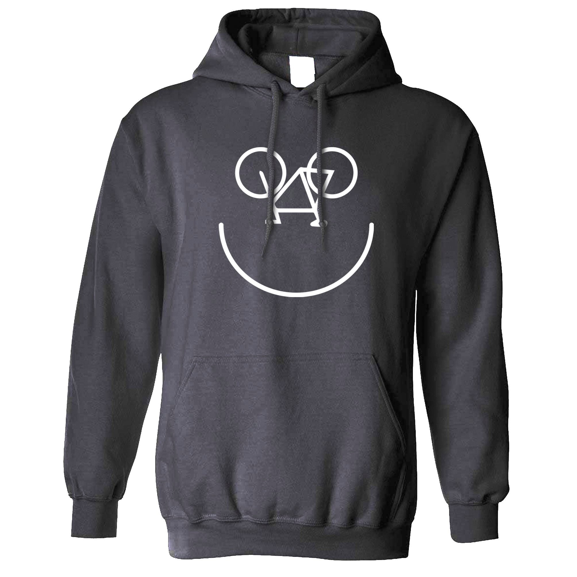 Cycling Hoodie Bicycle Happy Smiling Face Logo Hooded Jumper