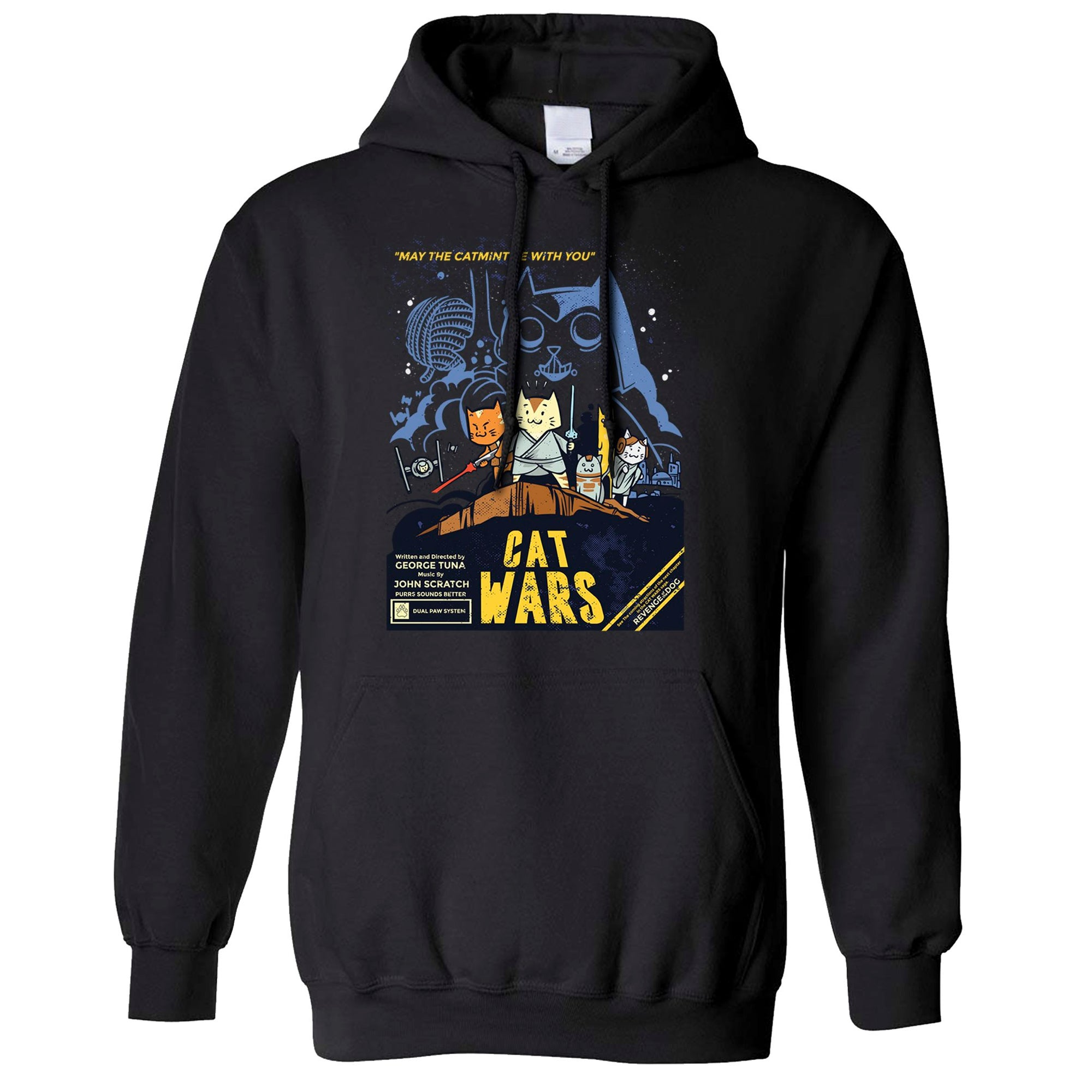 Cat Wars Hoodie Funny Star Parody Hooded Jumper