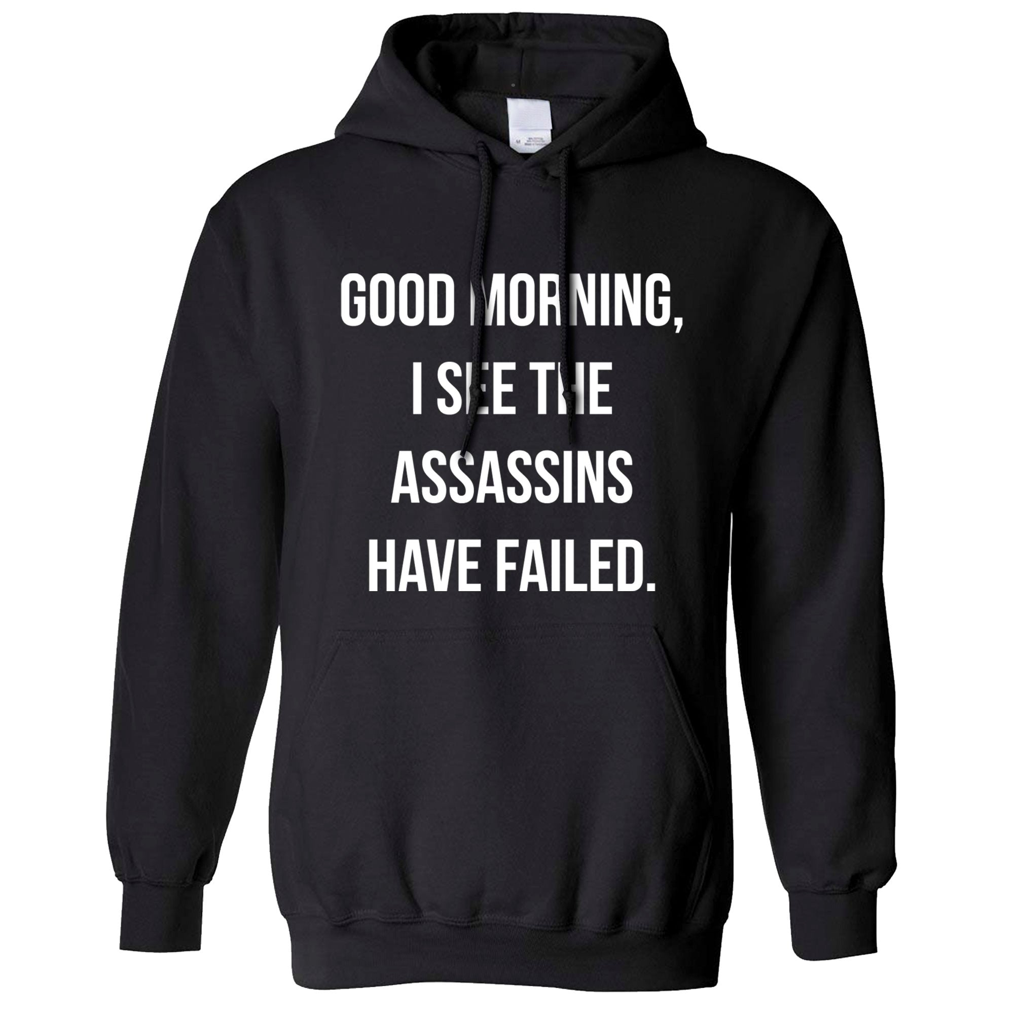 Novelty Hoodie I See The Assassins Have Failed Joke Hooded Jumper