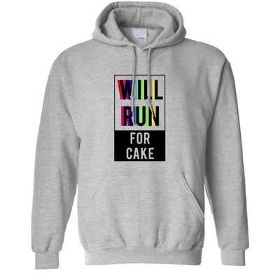 Novelty Hoodie Will Run For Cake Slogan Hooded Jumper