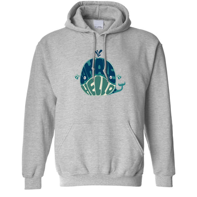 Novelty Hoodie Whale Hello Sea Life Pun Hooded Jumper