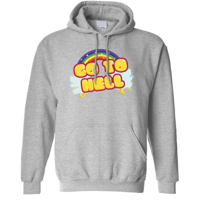 Novelty Rainbow Art Hoodie Go To Hell Gothic Slogan Hooded Jumper