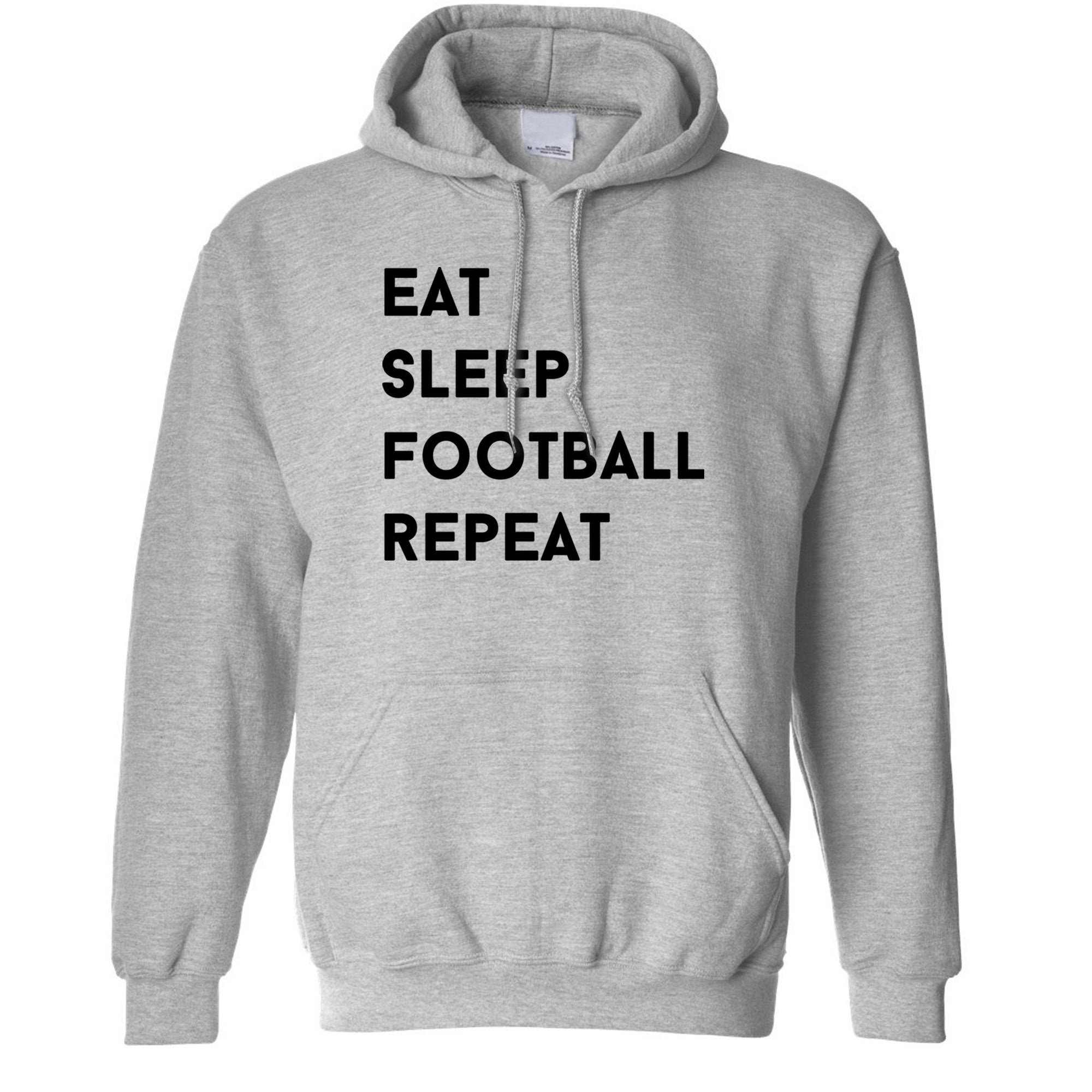 Funny Unisex Hoodie Eat, Sleep, Football, Repeat Slogan