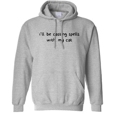 Halloween Hoodie I'll Be Casting Spells With My Cat Hooded Jumper