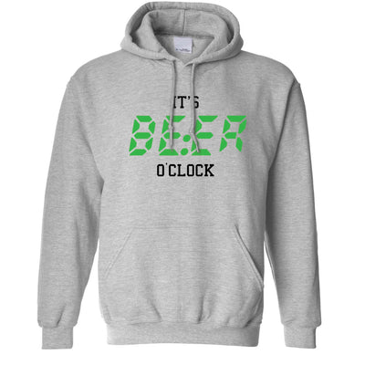 Pub Drinking Hoodie It's BEER O'Clock Slogan Hooded Jumper