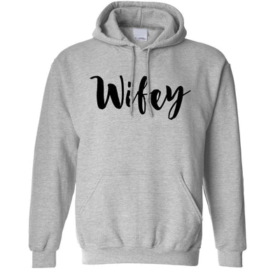 Novelty Couples Unisex Hoodie Wifey Unmarried Slogan