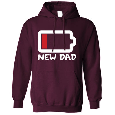 New Dad Hoodie Low Battery Remaining Novelty Joke Hooded Jumper