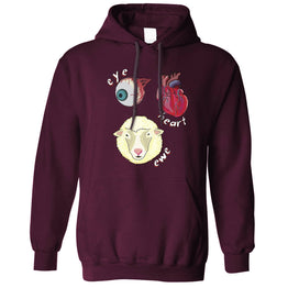Creepy Unisex Hoodie Eye Heart Ewe I Heart You Pun
