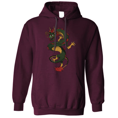 Traditional Chinese Hoodie Serpent Dragon Art Hooded Jumper