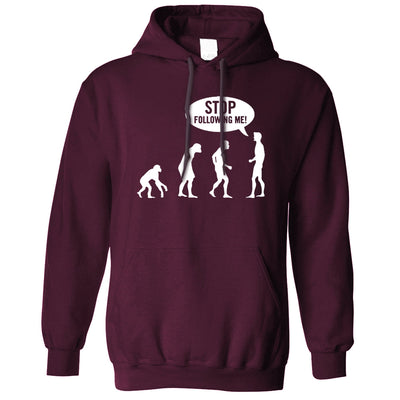 Stop Following Me Novelty Hoodie Evolution Parody Hooded Jumper