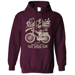 Cycling Unisex Hoodie Ride With Pride Biker Cyclist Retro Distressed
