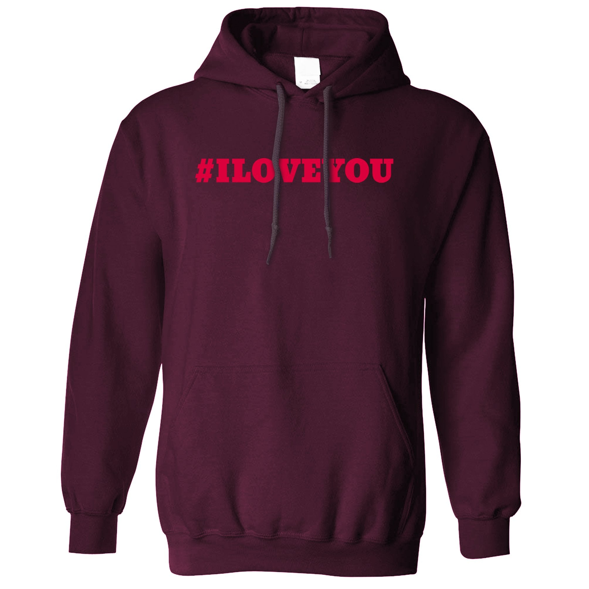 Trendy Internet Hoodie Hashtag I LOVE YOU Hooded Jumper