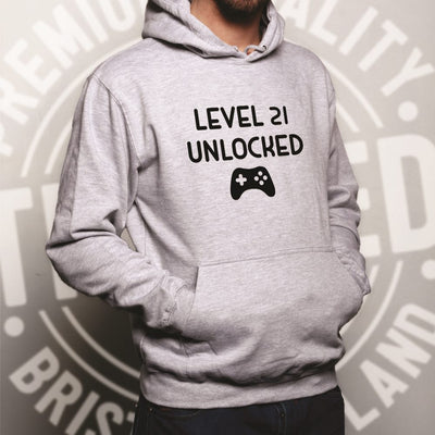 Gamers 21st Birthday Hoodie Level 21 Unlocked Slogan Hooded Jumper