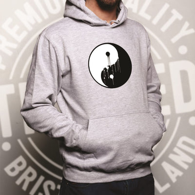 Art Hoodie Painted Dripping Ying Yang Balance Symbol Hooded Jumper