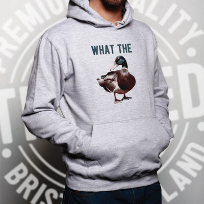 Novelty Pun Hoodie Funny What the Duck Joke Hooded Jumper