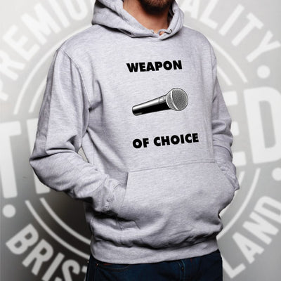 Novelty Music Hoodie Weapon of Choice Microphone Hooded Jumper