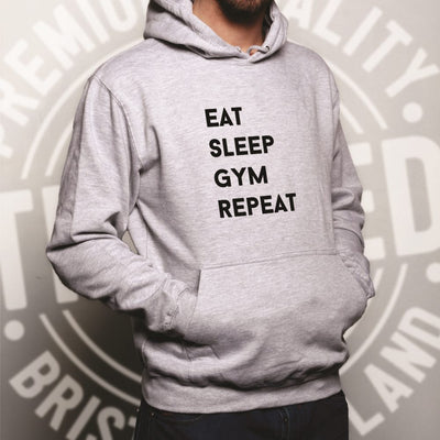 Novelty Hoodie Eat, Sleep, Gym, Repeat Slogan Hooded Jumper