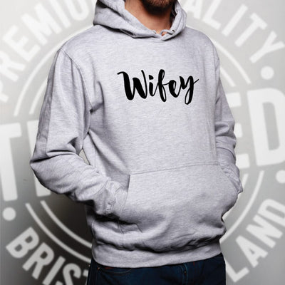 Novelty Couples Hoodie Wifey Unmarried Slogan Hooded Jumper