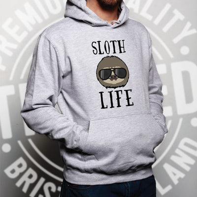 Novelty Animal Hoodie Sloth Life Pun Slogan Hooded Jumper