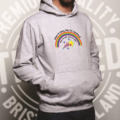 Inspirational Hoodie When It Rains, Look For Rainbows Hooded Jumper