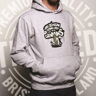 Novelty Hoodie What Do Vegan Zombies Eat? Grains! Hooded Jumper