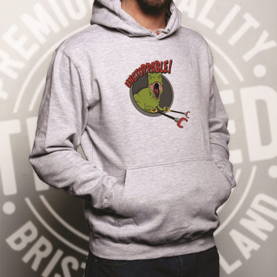 Novelty Hoodie Unstoppable T-Rex With Grabber Hands Hooded Jumper