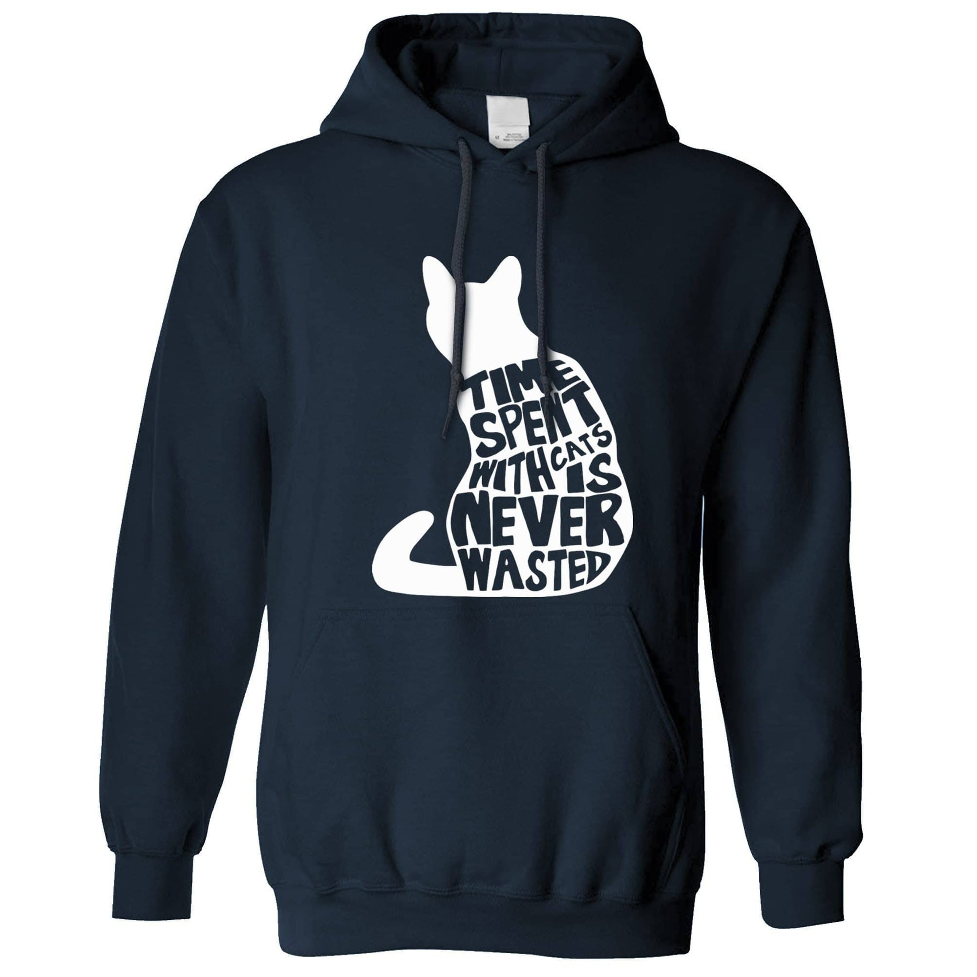 Cat Lover Hoodie Time Spent With Cats is Never Wasted Hooded Jumper