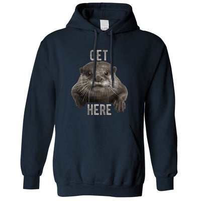 Novelty Animal Hoodie Get Otter Here Pun Hooded Jumper