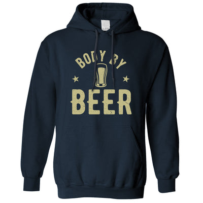 Funny Pub Hoodie Body By Beer Logo Distressed Drinking Slogan