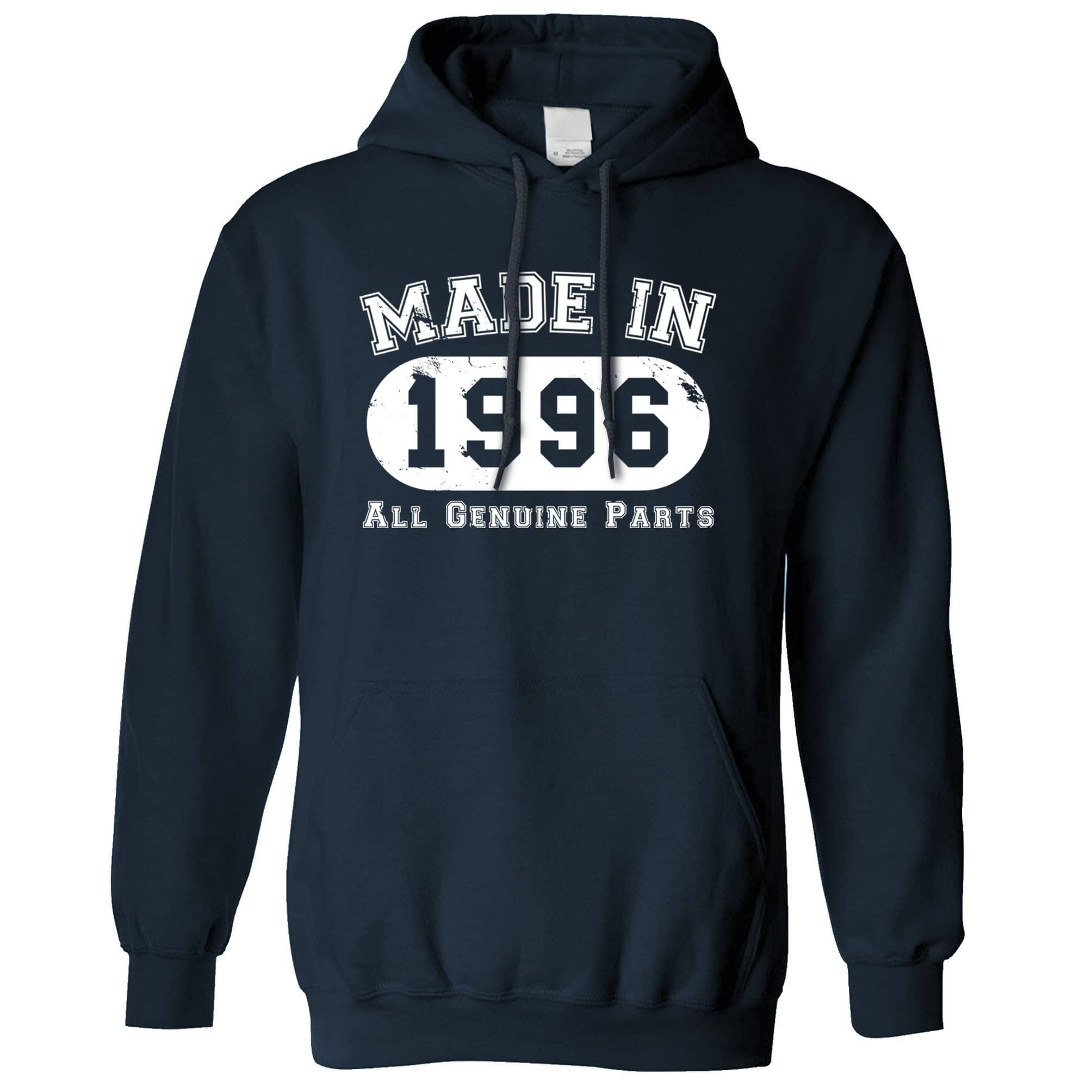 Birthday Hoodie Made in 1996 All Genuine Parts Hooded Jumper