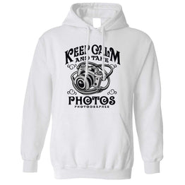 Retro Art Unisex Hoodie Keep Calm And Take Photos Slogan