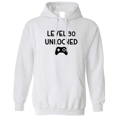 Gamers 30th Birthday Hoodie Level 30 Unlocked Slogan Hooded Jumper