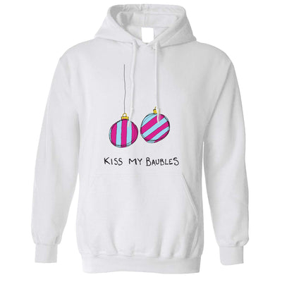 Rude Xmas Hoodie Kiss My Baubles Joke Hooded Jumper