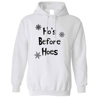 Novelty Chrismas Hoodie Ho's Before Hoes Slogan Hooded Jumper