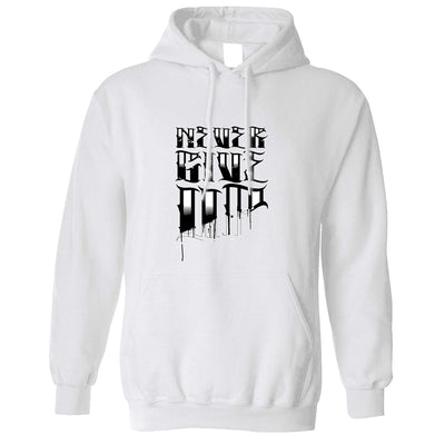 Novelty Slogan Hoodie Never Give Up Slogan Tattoo Hooded Jumper