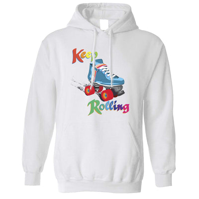 Vintage Skating Hoodie Keep On Rolling Pun Joke Hooded Jumper